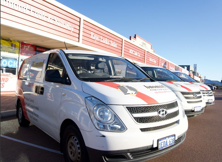 Three cars from the fleet at diamond lock and security.
