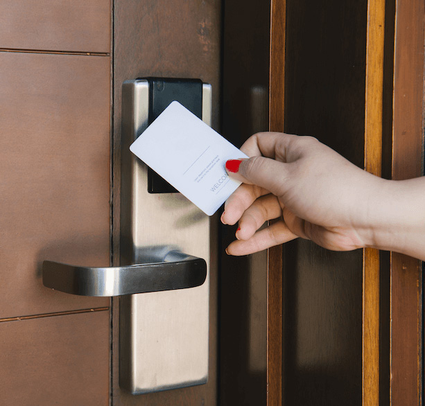 An electronic door locking device with key card activation.