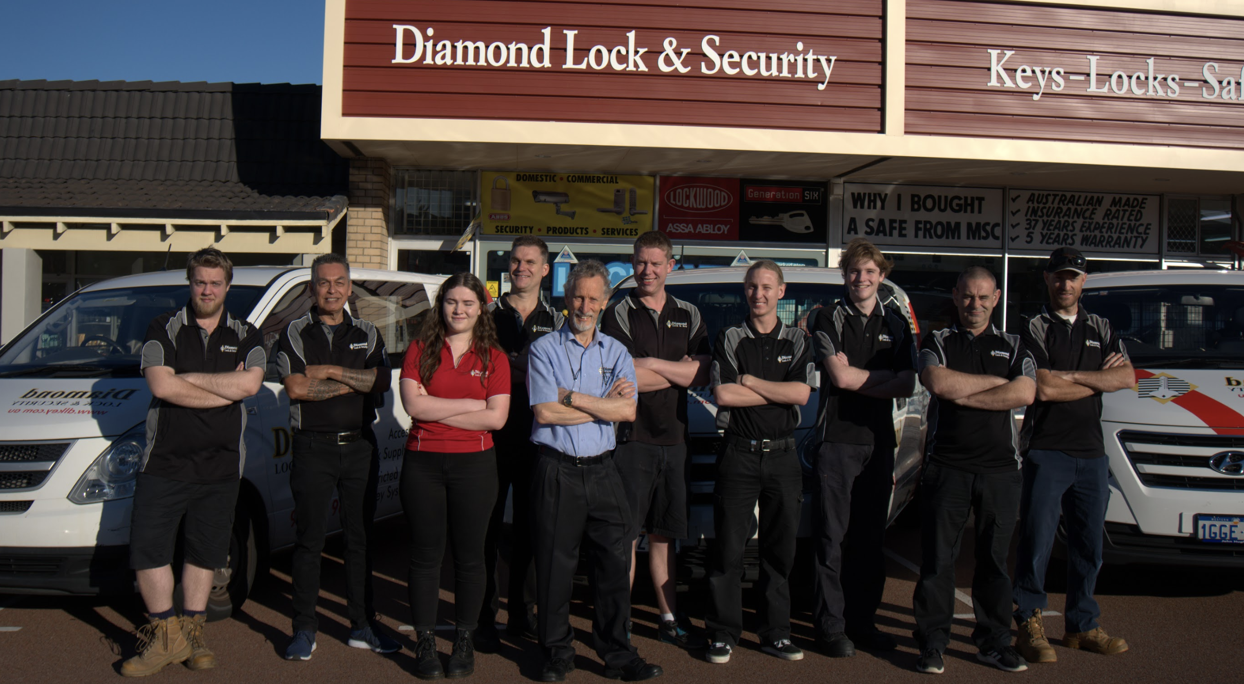 The team standing out of the Diamond Lock and Security locksmith head quarters.