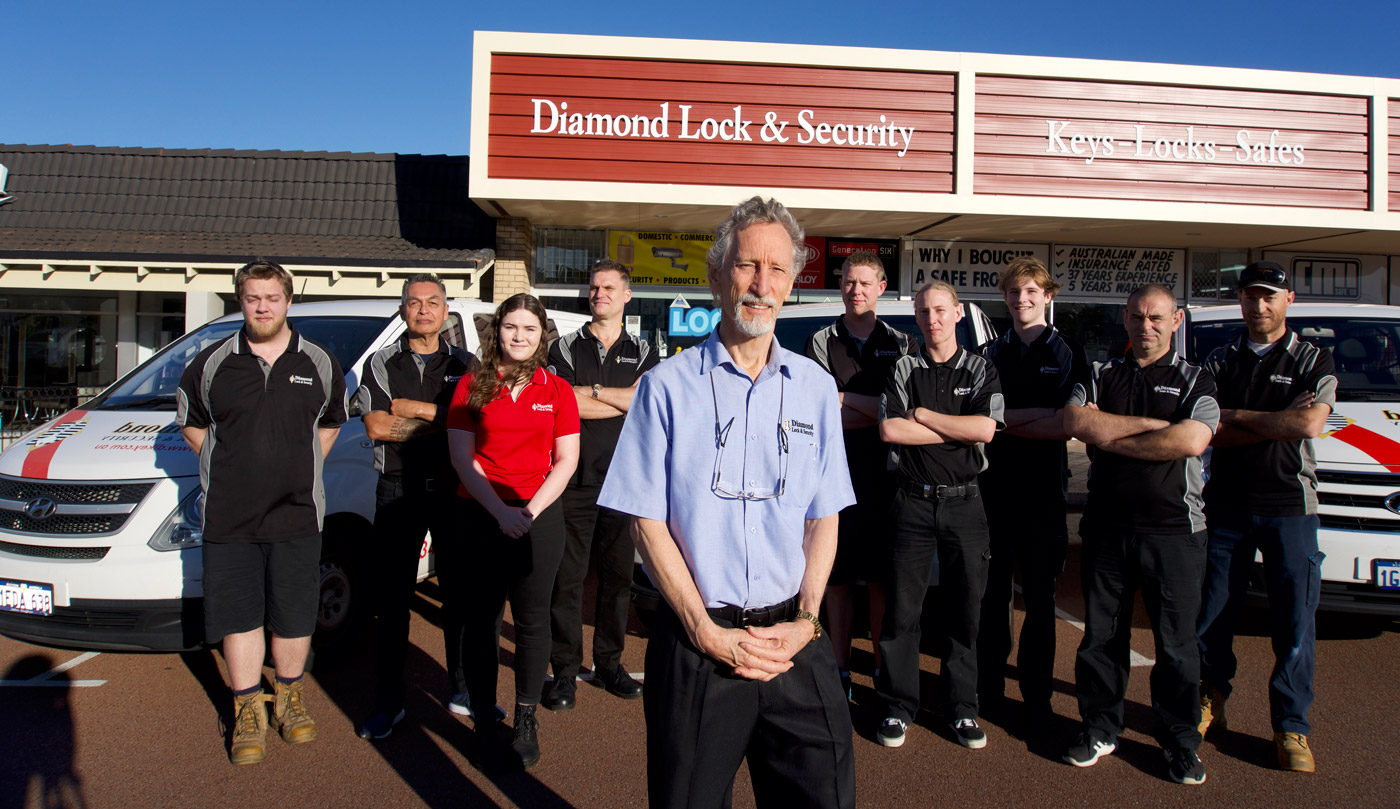 Rod and his team out the front of Diamond Lock and Security Osbourne Park.