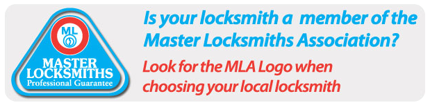 Advising customers to always check for the master locksmiths association logo.