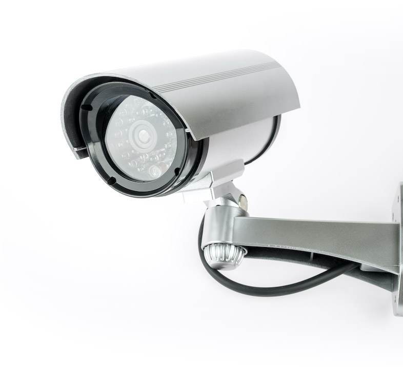 A CCTV System camera in chrome silver perfect for a business.
