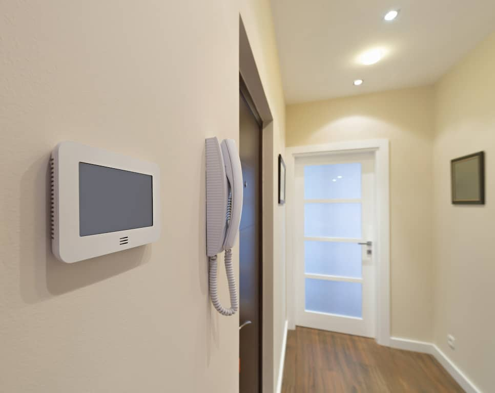 The inside of a home showing an intercome system.