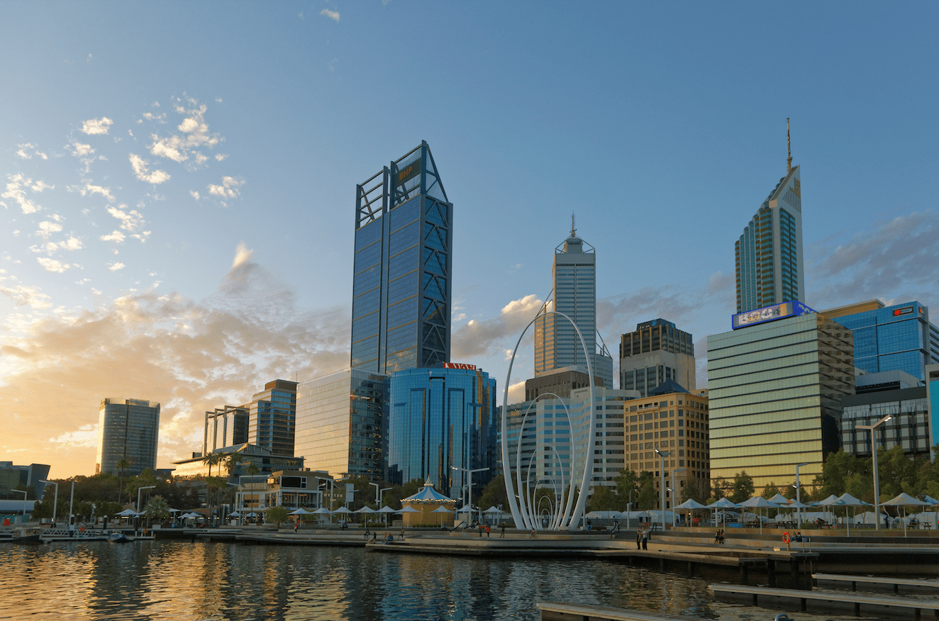 Perth city afternoon with the sun shining on the buildings.