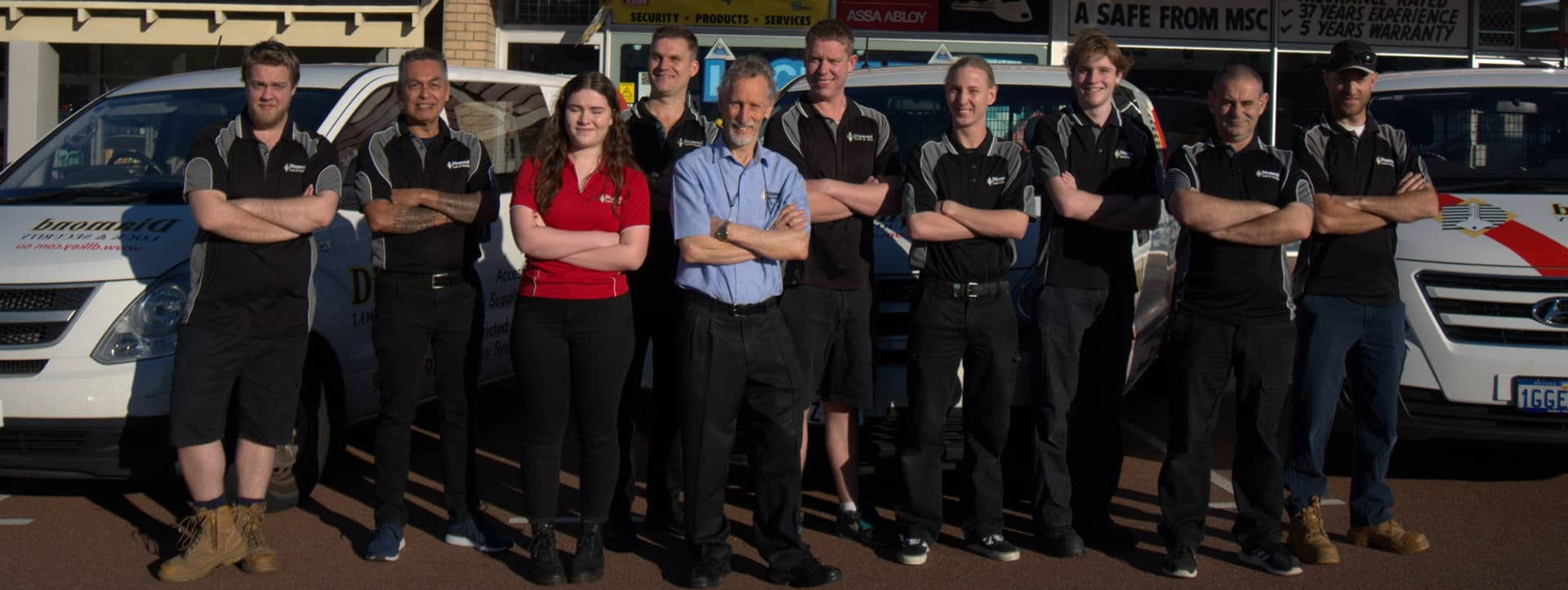 The Diamond Lock and Security Team on the front of the office.