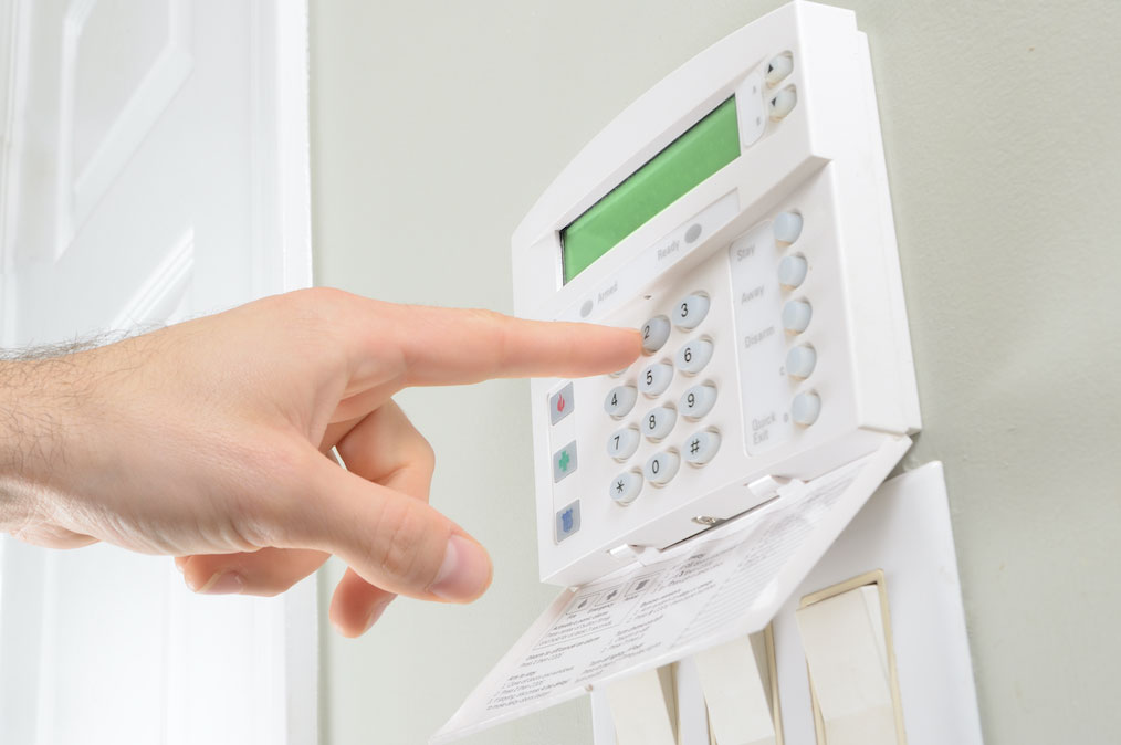 An alarm system fully installed and operational in a home