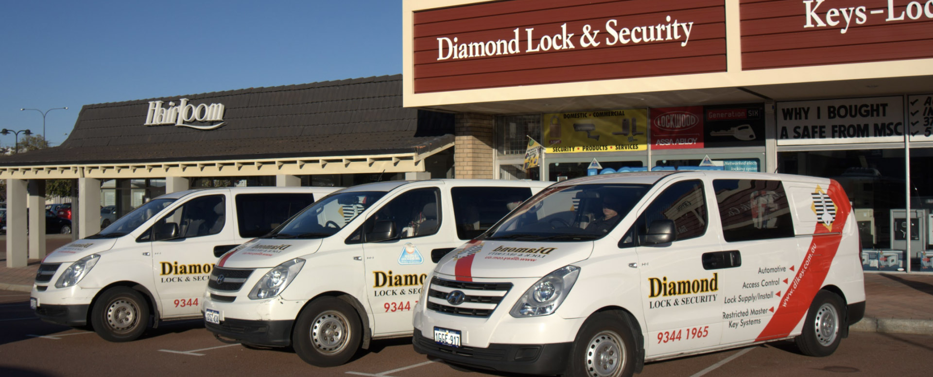 Diamond lock and security cars out the front of the venue.