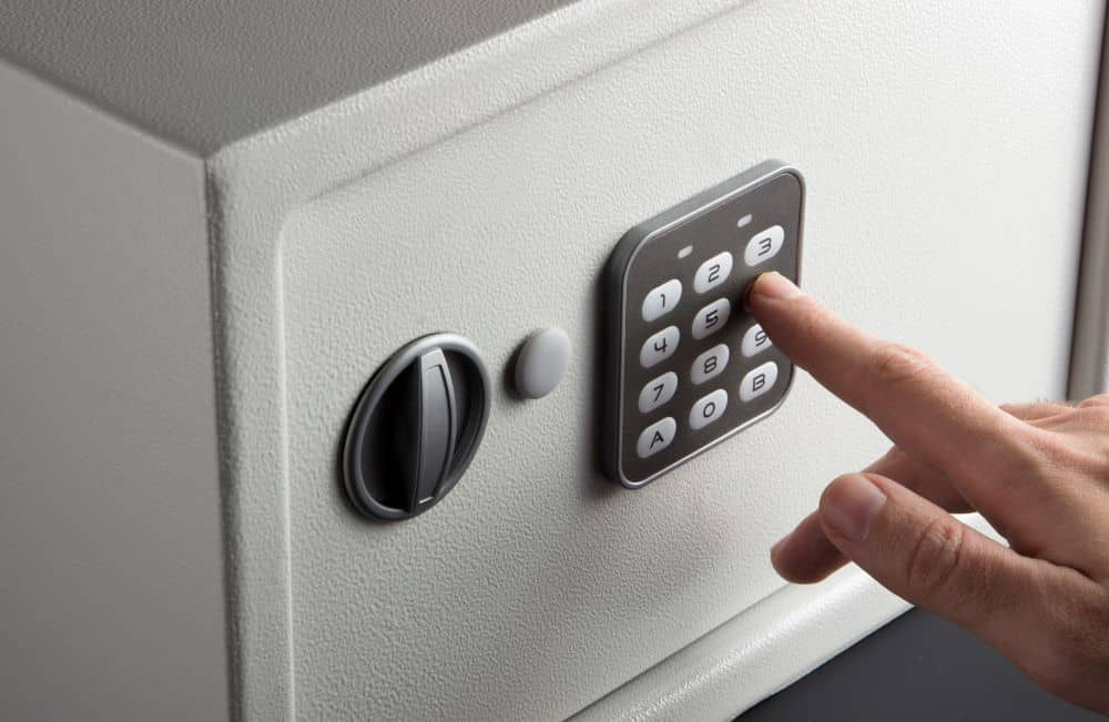 Pressing number combination of safety deposit box.